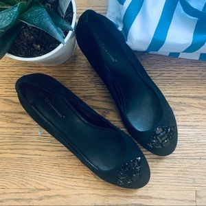 BCBGeneration Black Wedge Pumps w/ Embelli…